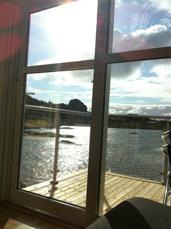 "Lovund Hotell: The view from a ""Rorburom""."