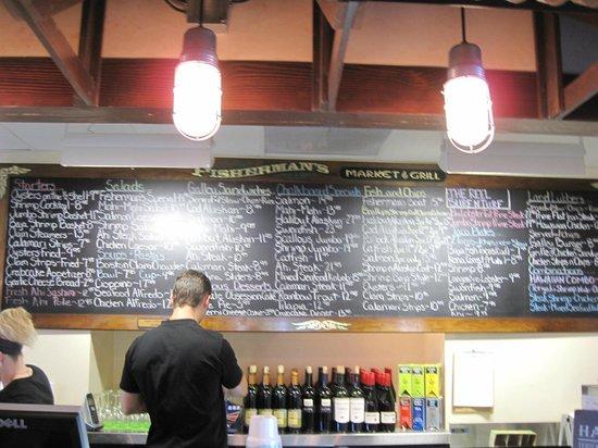 Fisherman's Market & Grill: Extensive chalkboard menu