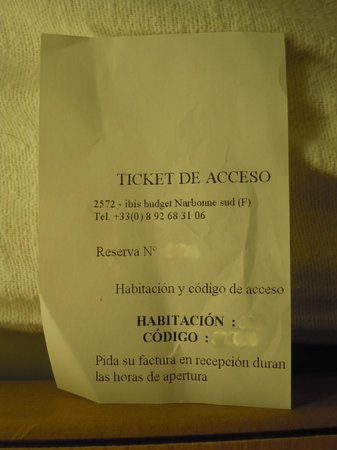 Ibis Budget Narbonne Sud : Ticket acceso