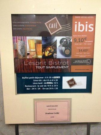 Ibis Archamps Porte de Geneve : Menu in elevator