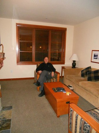 The Village At Squaw Valley: the living  room is respectably large with a fold out sofa bed