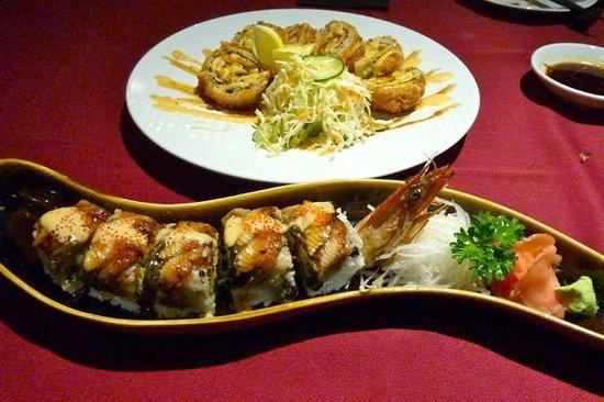Maya Sayang Restaurant : Dragon sushi and crunhy salmon sushi - both a bit of fun, but delicious