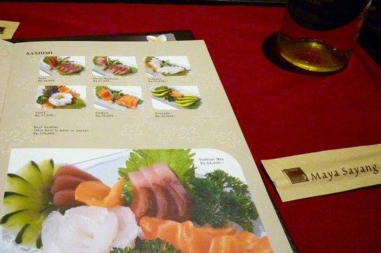 Maya Sayang Restaurant : The menu is huge and delicious