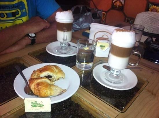 capacchino and croissants at Cafe Grano Cafe