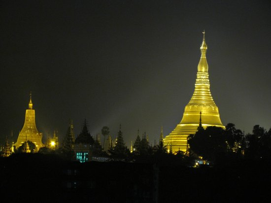 Guest Care Hotel: View from rooftop of hotel to amazing Shwedagon Pagoda
