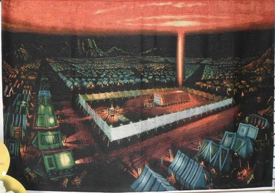 Biblical Tabernacle Reproduction : Tabernacle and encampment at night
