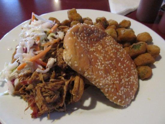 McKoy's Smoke House and Saloon: BBQ Sandwich with Fried Okra