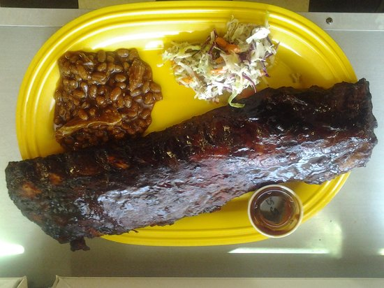 Shore Beef and BBQ: Full RAck Ribs with 2 sides.