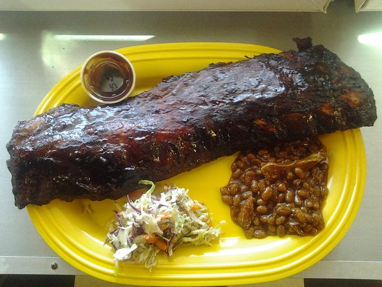 Shore Beef and BBQ : Full RAck Ribs with 2 sides.