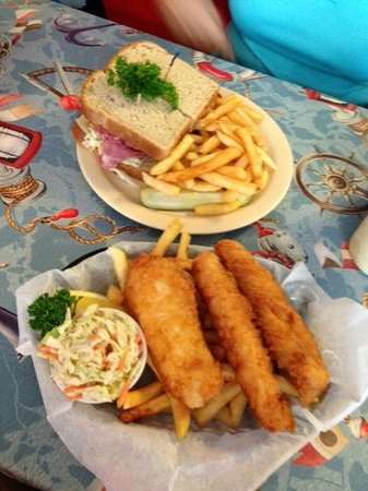 cafe 776: A small order of Fish & Chips, along with a 776 Delight (Corned Beef Sandwich)