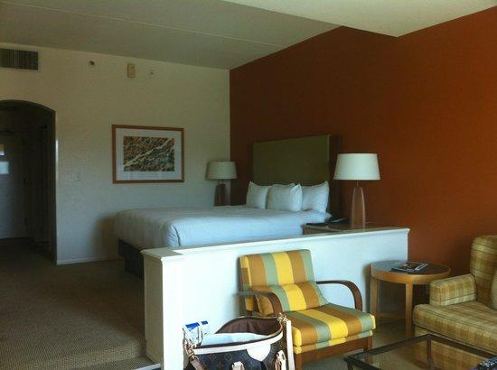 Hyatt Regency Indian Wells Resort & Spa: Room with pool view & balcony. Bath huge with shower & tub.