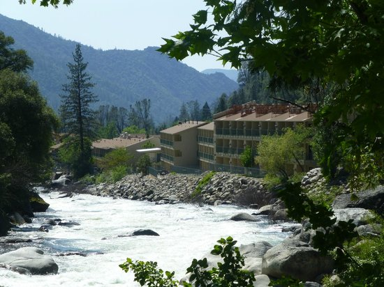view of the hotel next to the river merced picture of. Black Bedroom Furniture Sets. Home Design Ideas
