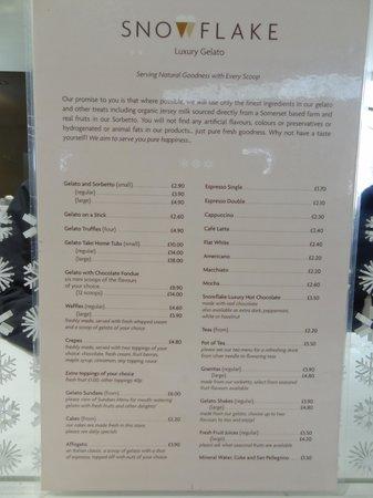 Snowflake Luxury Gelato: Menu