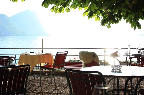 Hotel Terrasse Am See : Servier-Terrasse unter Bäumen, die die Mücken vertreiben