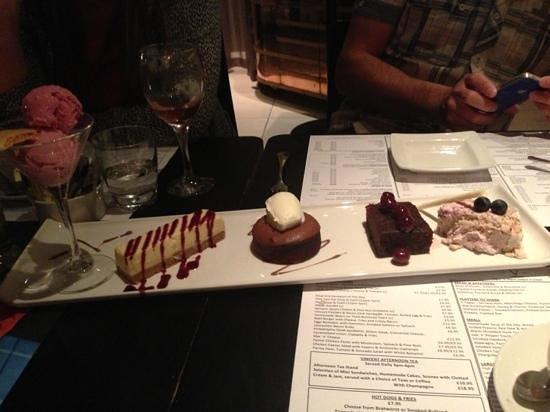 V-Cafe and Sushi Bar: surprise dessert platter! go for it!