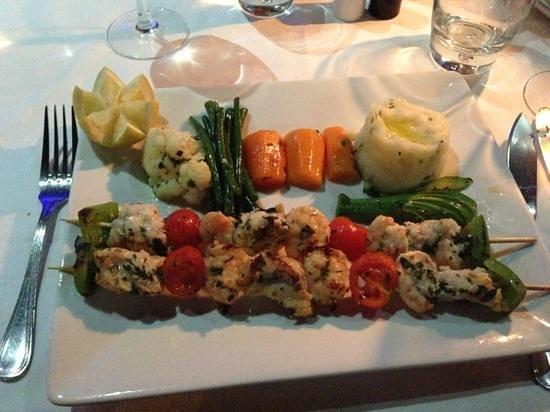 La Scala: seafood skewer