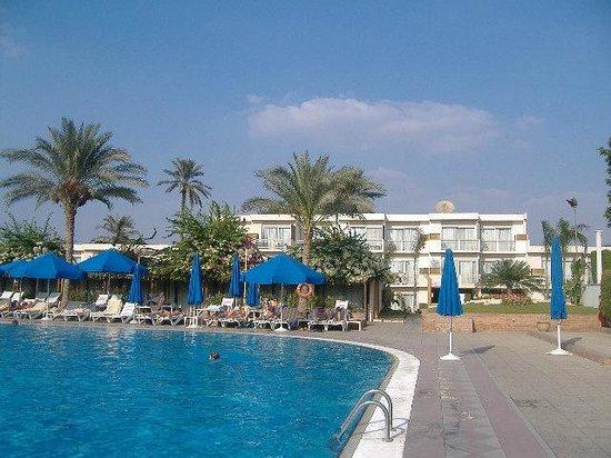 Pyramids Park Resort: Piscina + camere sullo sfondo