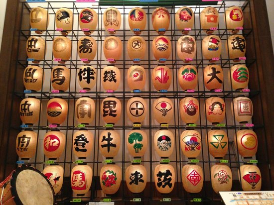Akita city Minzoku Geinou Densho-kan: 竿灯参加の全町の町紋をあしらった提灯
