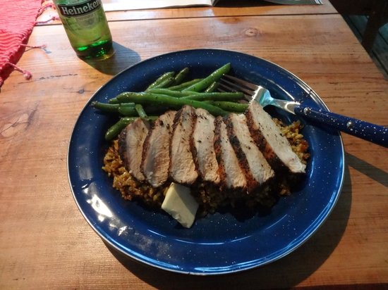 Orenda: One of the dinner served: herb-crusted chicken and wild rice