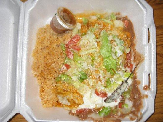 Taqueria Las Palmitas : Veggie Super Burrito to go.