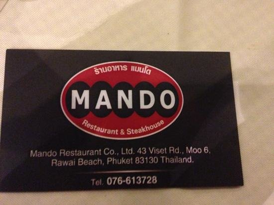 Mando Restaurant & Steakhouse : mando steak house