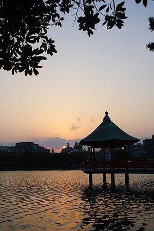 Ohori Park: 夕暮れの大濠公園