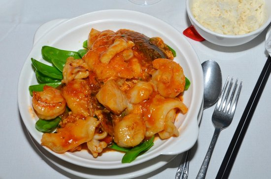 Peking Land: Spicy Singapore seafood with Greens