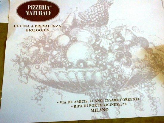 Pizzeria Naturale : Tovaglia mini di carta