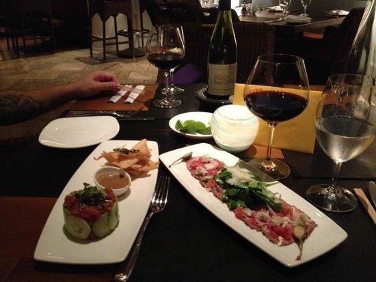 Avalon Grille : Tuna Tartare to the left. Wagu Carpaccio to the right.