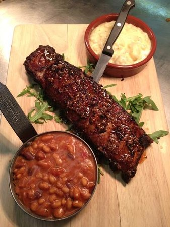 The Pelican Inn Bar and Restaurant: ribs refried beans with chorizo and potato gratin