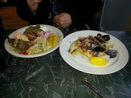Sjavarbarinn: Buffet plate on left - GLUTEN FREE SPECIAL order on right.