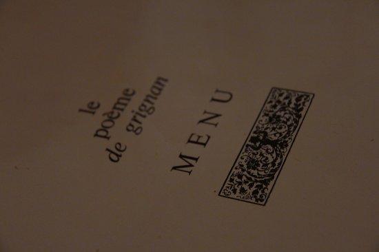Le Poeme de Grignan : Menu