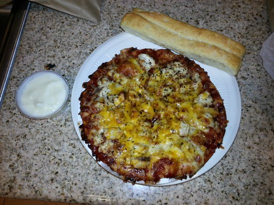 Monical's Pizza: BBQ Pizza and bread sticks