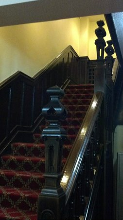 The Hind Hotel: The historical handmade Jacobean staircase.