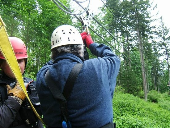 Canopy Tours Northwest: First zip -- about to take off
