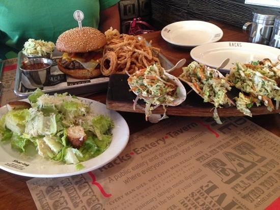 Racks Downtown Eatery + Tavern: Burger #4 Cajan fish tacos, plus half Caesar