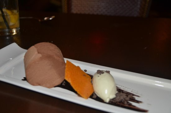 Chapel Grille: triple chocolate mousse dessert. Be sure to save room for it.