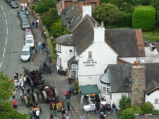 The Swan Inn: View from Wybunbury Tower during the annual Wybunbury Fig Pie Wakes