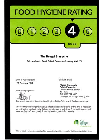 Bengal Brasserie: 4 star rated!