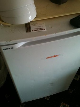 Beaconsfield Hotel : charming 'vintage' fridge complete with burn marks and assorted stains...