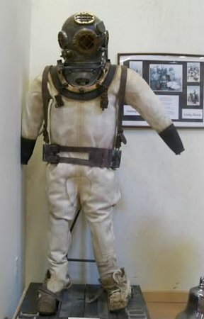 Rogers Street Fishing Village: heavy...1944 ruberized canvas diving suit