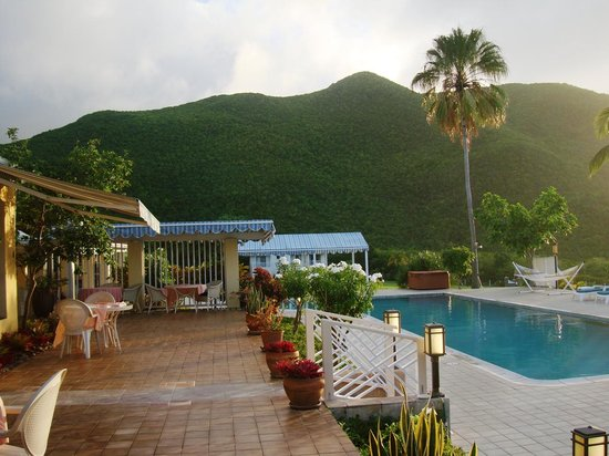 The Mount Nevis Hotel: Sunset at the pool