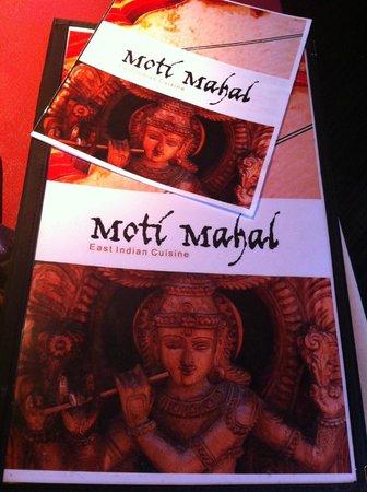 Moti Mahal: Meal menu and printed drinks menu.