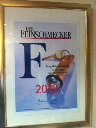 Burghotel Schnellenberg: waardering voor de keuken
