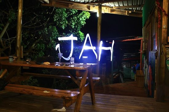 Jah Drums: Dining benches on the deck