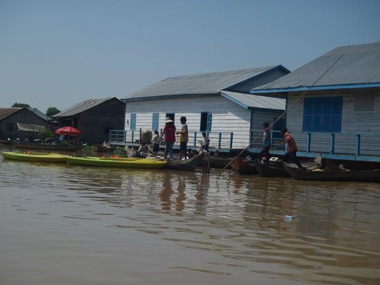 Unique Kayak Cambodia Day Tours: floating school
