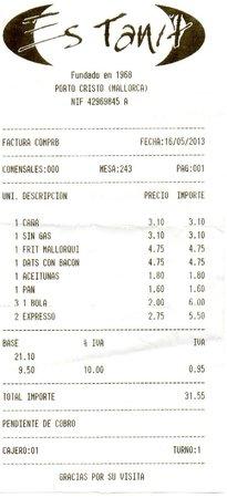 Restaurante Es Tanit: Notre note