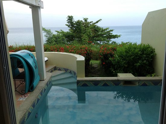 Sandals Regency La Toc: View from balcony to plunge pool