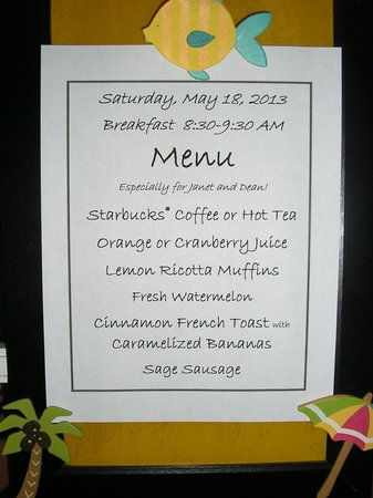 Coquina Inn B&B: Personalized breakfast menu updated daily
