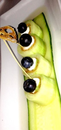 Sushi Den: Cucumber stuffed with cream cheese and tofu, topped with a blueberry